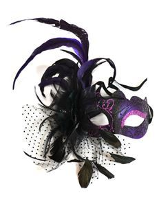 Venetian Feathers & Flowers Purple Mask - Masquerade Mask | trendyhalloween.com