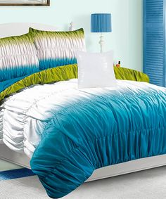 Another great find on #zulily! Blue Carmen Ruched Comforter Set by Luxury Home #zulilyfinds