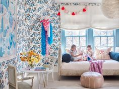 Home Tour : Meredith McBrearty's Buckhead Cottage - The English Room Girl Room, Girls Bedroom, Child's Room, Casas En Atlanta, Daybed Room, Budget Blinds, Twin Headboard, Atlanta Homes, Blue Rooms