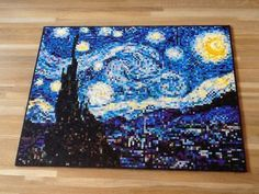 My biggest project yet, starry night by Van Gogh. - Imgur