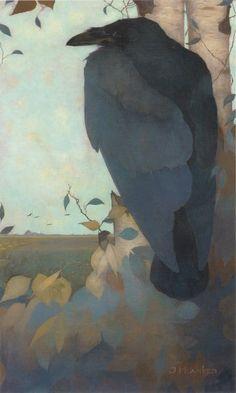 Raven on Birch Tree - Jan Mankes, 1889 – 1920 - Dutch painter. Crow Art, Raven Art, Bird Art, The Raven, Art And Illustration, Illustrations, Jackdaw, Crows Ravens, Art Japonais