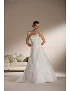 Strapless A Line Princess Chapel Train Organza Wedding Dresses