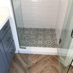 Gorgeous shower floor featuring the in stock Lourdes pattern! ・・・ This bathroom came together beautifully! I mean, look at that shower floor! If you are looking to buy in then you will want to see this house when it comes on the market! Bathroom Renos, Bathroom Flooring, Small Bathroom, Bathroom Colors, Dyi Bathroom, Bathroom Renovations, Bathroom With Wood Floor, Flooring Tiles, Shower Bathroom
