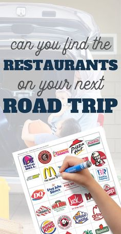 These Road Trip Printables for Kids: Restaurant I Spy are a super fun way to keep kids entertained while you travel in your car or on a train. What billboard ads can your child's eye spy? Also includes instructions for other travel game ideas. Road Trip On A Budget, Road Trip With Kids, Travel With Kids, Family Travel, Traveling With Baby, Traveling By Yourself, Road Trip Games, Road Trips, Kids Restaurants