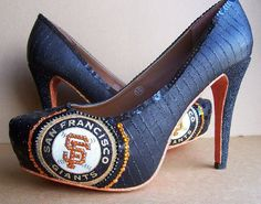 The soles on these shoes are sick! San Francisco Giants High Heels by TattooedMary on Etsy, $180.00