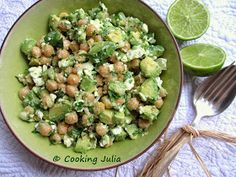 COOKING JULIA : SALADE DE POIS CHICHES, AVOCAT ET FETA