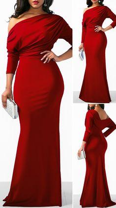 Red High Waist Skew Neck Dress HOT SALES beautiful dresses, pretty dresses, holiday fashion, d African Party Dresses, Long African Dresses, Latest African Fashion Dresses, Club Party Dresses, Women's Fashion Dresses, Fashion Fashion, Cute Dress Outfits, Casual Dresses, Pretty Dresses