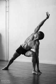 "Extended Side Angle Pose - LA Yoga Teacher Keric Morinaga for ""Inside the Warrior - the Masculine Side of Yoga"" ©AmyGoalenPhotography"