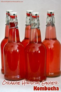 Orange Hibiscus Ginger Kombucha |with a recipe for orange,hibiscus ginger tea Divine Health