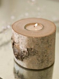 Natural Wood Candle Holder - can totally do this as a DIY