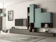Sectional lacquered TV wall system SLIM 87 Slim Collection by Dall'Agnese | design Imago Design, Massimo Rosa