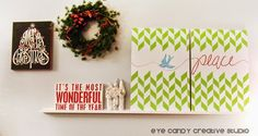 DIY Painted Canvas Wall Art with Chritmas Stencils from Royal Design Studio via eyecandycreativestudio