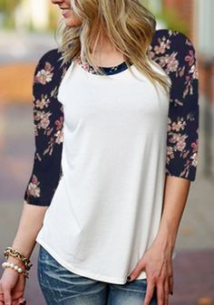 White Patchwork Irregular Elbow Sleeve Casual Cotton T-Shirt
