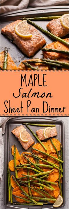 This maple salmon sheet pan dinner with sweet potatoes and asparagus is an easy, fast, delicious, and comforting fall meal! Great for meal prep, weeknight dinners and leftover lunches. The maple syrup adds the perfect amount of natural sweetness.