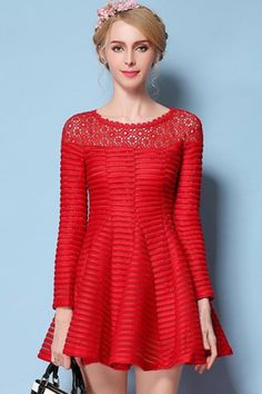 Red+Crochet+Lace+Accent+Long+Sleeve+Pleated+Dress+#Red+#Dress+#maykool