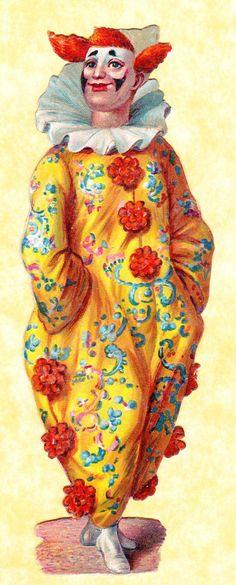 Victorian Scrap Clown in Yellow Red Costume Approx 12 x 4 Cm | eBay