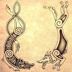 Two different Norse styles of wolves by ir.artwork