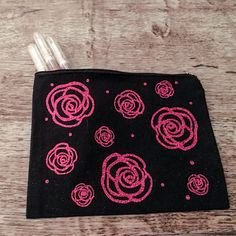 Black zipper top makeup bag with pink glitter roses. This bag is made from a durable canvas material and measures Design done in a permanent heat transfer material. Glitter Roses, Pink Glitter, Easy Gifts, Unique Gifts, Handmade Gifts, Customized Gifts, Personalized Gifts, Custom Makeup Bags, Stocking Stuffers For Her