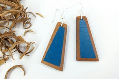 Your place to buy and sell all things handmade Blue Drop Earrings, Golden Earrings, Wood Earrings, Unique Earrings, Etsy Earrings, Blue Wood, Gold Wood, Wooden Jewelry, Etsy Shop