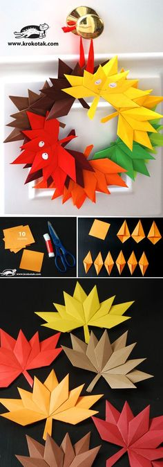 Autumn paper leaves (krokotak) is part of Autumn crafts Wreath Autumn leaves from paper to make a beautiful decoration or a wreath You will need 10 squares - Kids Crafts, Diy And Crafts, Craft Projects, Arts And Crafts, Craft Ideas, Autumn Crafts, Thanksgiving Crafts, Holiday Crafts, Origami Paper
