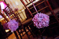 TableArt- Wedding- Purple pomander chair details. {Venue: Four Seasons Philadelphia | Marie Labbancz}