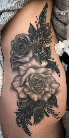 Roses and butterfly on lower back