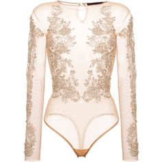 Amen sequin embellished sheer bodysuit ($1,160) ❤ liked on Polyvore featuring intimates, shapewear and grey
