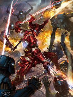 Galaxy saga red demon toned torrin by *dcwj on deviantART Robot Concept Art, Armor Concept, Fantasy Armor, Dark Fantasy Art, High Fantasy, Galaxy Saga, Art Cyberpunk, Saga Art, Sci Fi Anime