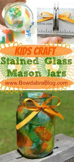 These mason jars would be SO FUN to make for summer parties with added candles or tea lights! Kids Craft Stained Glass Mason Jar