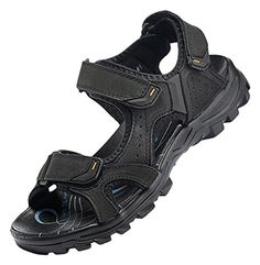 Topshow Men's Eye-Catching Leather Sandals Black 39 $46.63