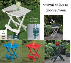 Beau Plastic QUIK FOLD Small Side End TABLE Portable Folding Outdoor Patio USA  MADE