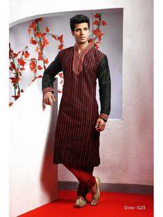 Red with Black Designer Kurta with Churidar Mens Wear
