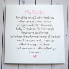 BESTIE BIRTHDAY CARD THANK YOU CARD best friend Birthday