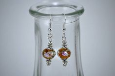Floral Amber Faceted Crystal with Silver Accented Drop Earrings by KoningStilsonDesign on Etsy Faceted Crystal, Crystal Earrings, Drop Earrings, Amber Color, Colorful Pictures, Ear Piercings, Wind Chimes, Silver Plate, Etsy Shop