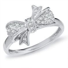 Diamond bow ring. Love this!
