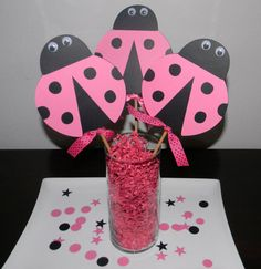 Lady Bug Centerpiece Picks Set of 3 Pink and by YourPartyShoppe