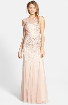 Beaded Chiffon Gown by Adrianna Papell Sequins Illusion Neckline