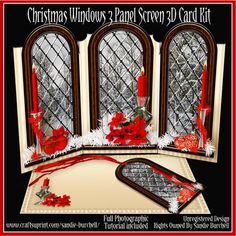 - Beautiful Christmas Windows 3 Panel Screen Card Kit which slots together. Beautiful design that is very easy to make! Screen Cards, Window Cards, Christmas Cards, Christmas Decorations, Christmas Ideas, Library Inspiration, Christmas Windows, Card Kit, Beautiful Christmas
