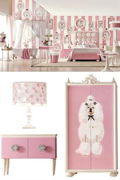 Lolita Cabinet kid's wardrobe/armoire, table and lamp by Imagine Living. Super sweet bedroom decor in pink with poodle design Bedroom Themes, Girls Bedroom, Bedroom Decor, Bedroom Ideas, Girls Princess Room, Kids Dressers, Kids Bedroom Designs, Pet Furniture, White Furniture