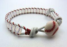 BASEBALL or Softball Bracelet  Beaded Leather Wrap by LucyandLarry, $25.00