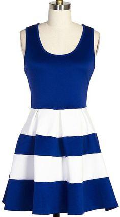 Navy & White Stripe Dress //