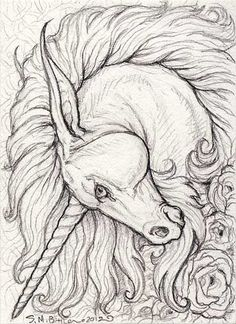ACEO - Unicorn by ~synnabar on deviantART- replace with Lion head: