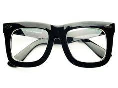 225d43eef0b Large Retro Fashion Nerd Geek Style Thick Framed Clear Lens Wayfarer  Glasses Frames (Black)