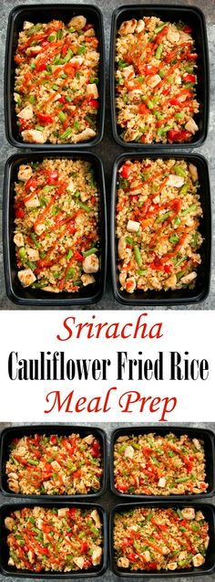 Sriracha Cauliflower Fried Rice Meal Prep – Kirbie {Kirbie's Cravings} Sriracha Cauliflower Fried Rice Meal Prep Sriracha Cauliflower Fried Rice Weekly Meal Prep. An easy, low carb and gluten free meal that can be prepared ahead of time. Lunch Recipes, Paleo Recipes, Low Carb Recipes, Cooking Recipes, Rice Recipes, Breakfast Low Carb, Comida Keto, Think Food, Prepped Lunches
