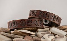 eather distressed bracelet 3/4 inch wide leather cuff with your special date stamped into the leathe