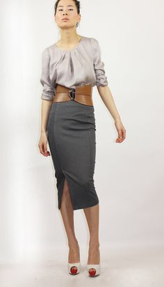Grey pencil skirt $84 ellalai.etsy.com (love the whole outfit, though.)