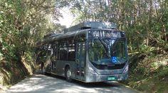 Ônibus Marcopolo Novo Torino Low Entry, com plataforma Mercedes-Benz O500U Elétrico, sistema de tração elétrica de 200 kW de potência, desenvolvido pela WEG, projeto de integração e tecnologia da Eletra.