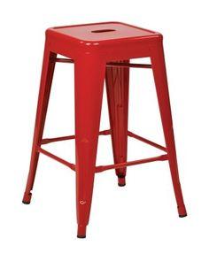 "Work Smart / OSP Designs PTR3024A2-9 24"" Steel Backless Barstool (2-Pack) (Red)"