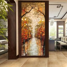 Large Painting, Oil Painting On Canvas, Canvas Art, Images D'art, Stained Glass Door, Rainy Night, Painting Process, Home Decor Wall Art, Decor Mural