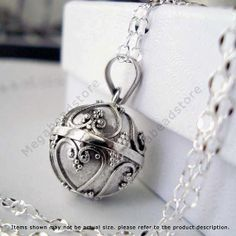 "Maternity Bola Necklace Chime Pendant Harmony Ball 925 Sterling Silver w/ 36"" Chain P78CH67"